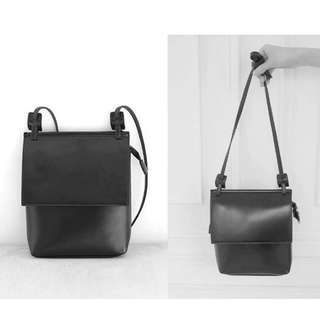 mooncat 設計感簡約斜背/側背小包 黑色 #手滑買太多