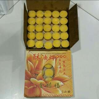 100pcs 1hrs yellow butter lamp candle