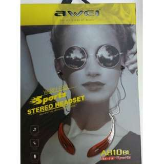 Awei a810bl 藍芽耳機 Bluetooth headphone / black or red