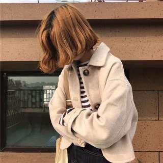 加厚毛呢外套女2017新款冬季韓版寬松百搭純色短款長袖單排扣上衣