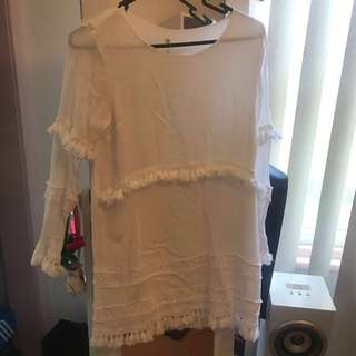 White tassel long sleeve dress, size 12