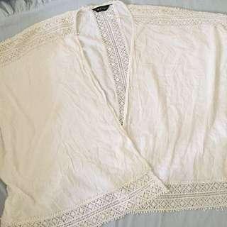White boho blazer
