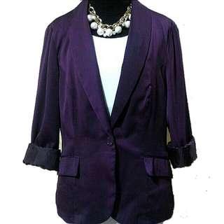 New Look satin twill blazer (plum)