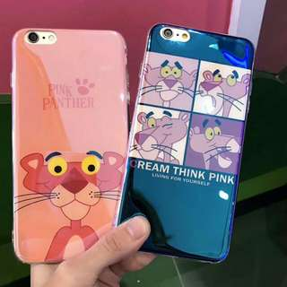 Pink Panther Luxury Blue Light Ray Phone Case For iPhone 6/7/8/X