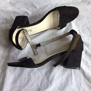 Black suede low block heels/sandals
