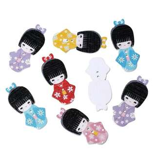 Japanese Doll in Kimono 2-Hole Sewing Button Set Scrapbooking