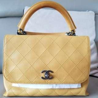 Chanel sheep skin yellow handbag