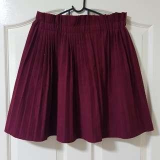 Maroon Pleated Skirt