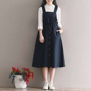 Navy Blue Pinafore with Buttons