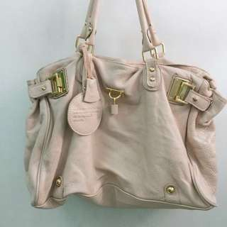 Imported Leather Bag in Beige