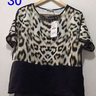 Zara Leopard Print Blouse with Jewels