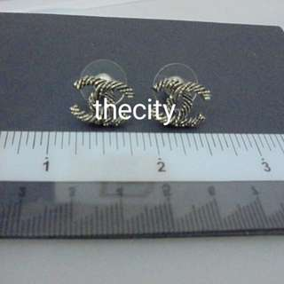 AUTHENTIC CHANEL CC SMALL  CLASSIC  LOGO EARRINGS