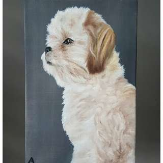 Painting of a dog by L.A. Mago