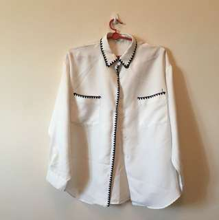 Embroidered white collared shirt