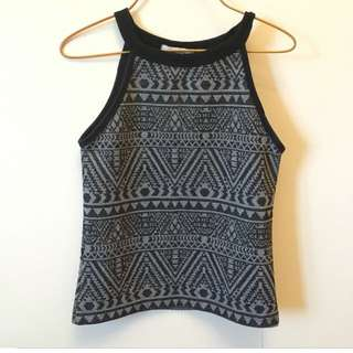Black tribal halter top