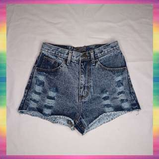 Blue Navy Hot Pants Jeans