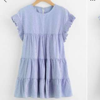 S-M Gingham style blue pinstripe dress