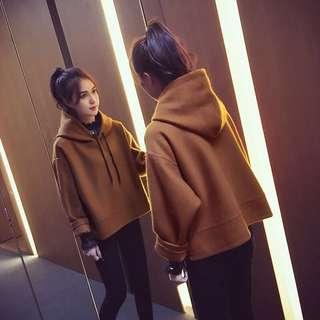 韓版女裝寬鬆休閒連帽上衣T恤帽T長袖上衣