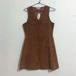 Glamorous Tan Cord Dress