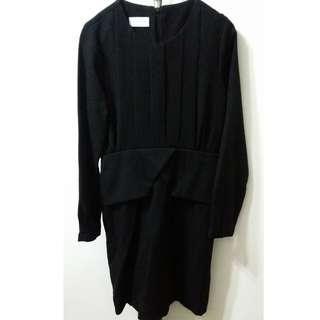 全新韓國黑色one-piece裙