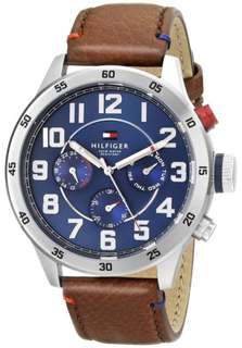 Tommy Hilfiger Men's 1791066 Stainless Steel Watch Brown Leather Band
