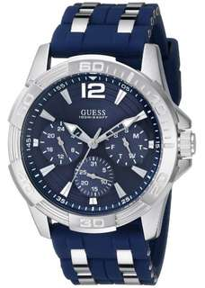 GUESS Men's U0366G2 Iconic Multi-Function Silver-Tone Watch Blue Strap