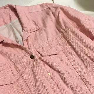 燈芯絨外套 淡粉色 牛仔外套