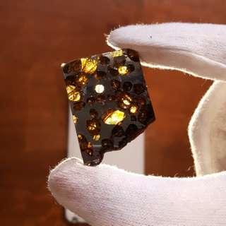 Brahin Pallasite Meteorite Polished Slice