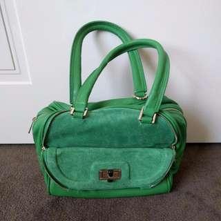 PINK CORPORATION 100% Green Leather Handbag   RRP $120