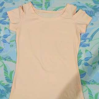 Brand New Cold Shoulder Pastel pink beige top