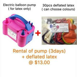 (26/11) Rental bundle promo- balloon pump +deflated latex