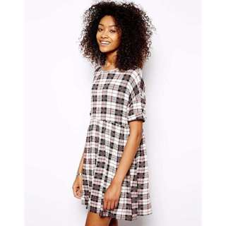 DAISY STREET Jersey Smock Dress In Check | Size M | RRP $40