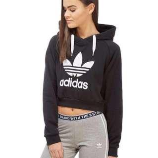 adidas originals trefoil crop hoodie