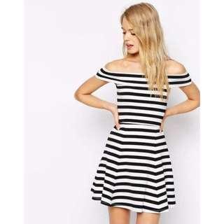 ASOS Bardot Skater Dress In Stripe | Size 12 | RRP $45