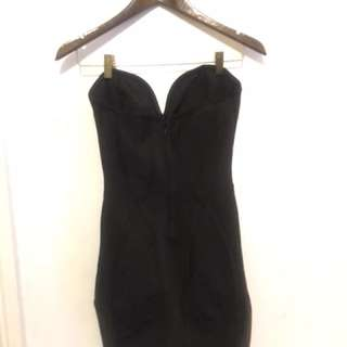 MissGuided Strapless Black Bandage Bodycon Dress