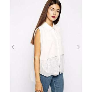GOLDIE Who Cares Chiffon And Lace Blouse   Size S/M   RRP $74