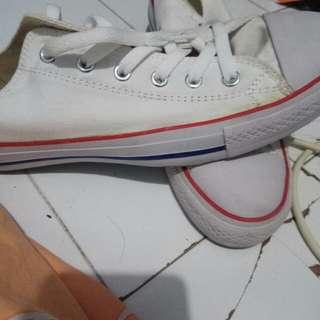 Converse CT Hi putih list merah biru