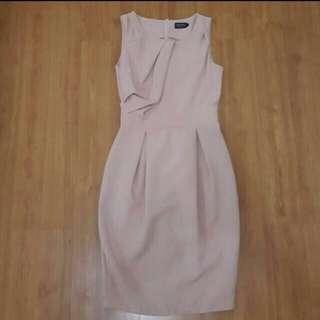Salmon (pink) Pleated Dress By Zalora