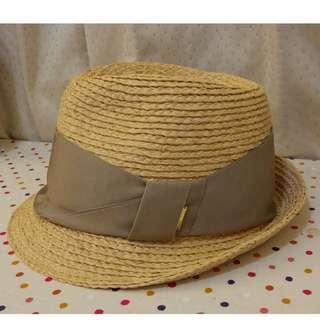 全新 / CA4LA 緞帶紳士草帽/米色 卡其