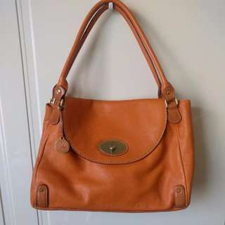 100% Real Leather Vintage Tote In Orange