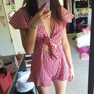 Showpo Playsuit in Red Check Size 8