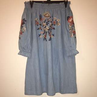 M off the shoulder denim embroided dress