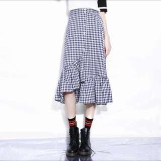 Instock: Blue Checkered Unsymmetrical Midi Skirt