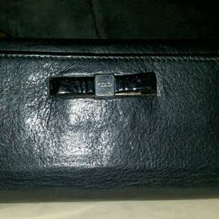FURLA black leather leather wallet