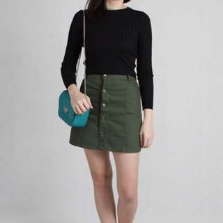 Army green button down skort