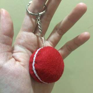 Red Macaron Keychain, Cute Handmade Felt Keychain