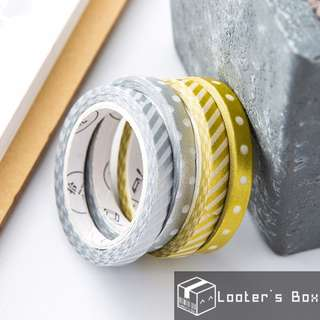 Gold & Silver Stamped Minimalist Slim Divider Washi Tape