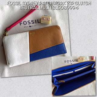 Fossil Sydney Patchwork Zip Clutch Neutral Multi SL5089994