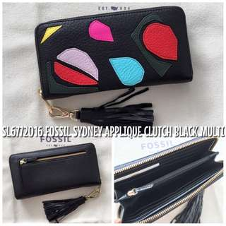 SL6772016 FOSSIL SYDNEY APPLIQUE CLUTCH BLACK MULTI