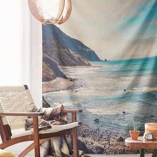北歐風海灘簡約現代藝術掛布掛毯裝飾沙灘巾